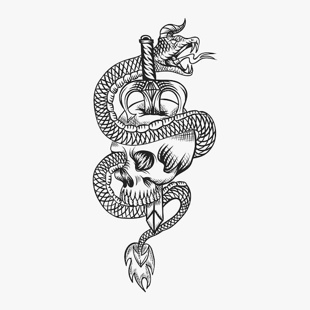 Illustration vectorielle de crâne serpent diabolique Vecteur Premium