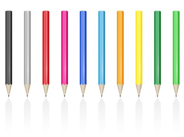 Illustration vectorielle de crayons de couleur Vecteur Premium