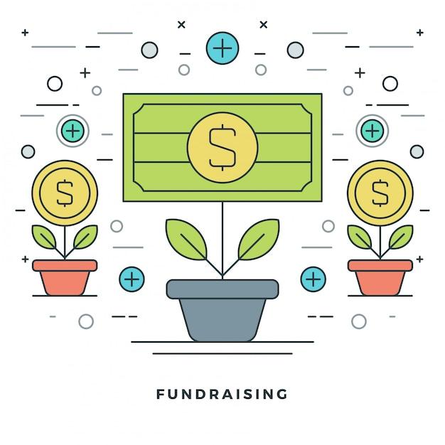 Illustration vectorielle de croissance financière concept. Vecteur Premium