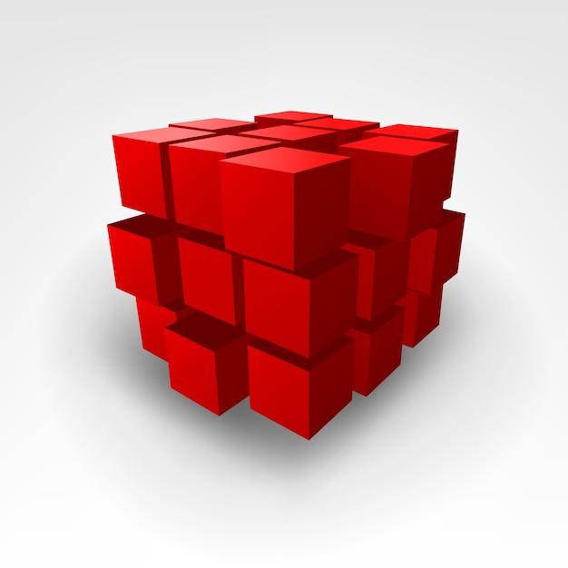 Illustration Vectorielle De Cube Rouge Abstrait Vecteur Premium