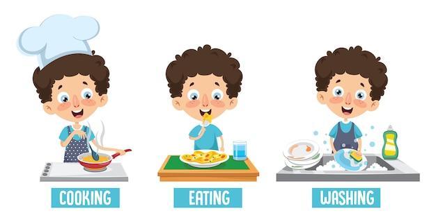 Illustration vectorielle de la cuisine pour enfants Vecteur Premium