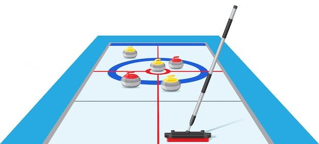 Illustration vectorielle de curling sport jeu Vecteur Premium