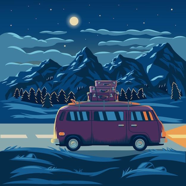 Illustration vectorielle d'un paysage de montagne Vecteur gratuit
