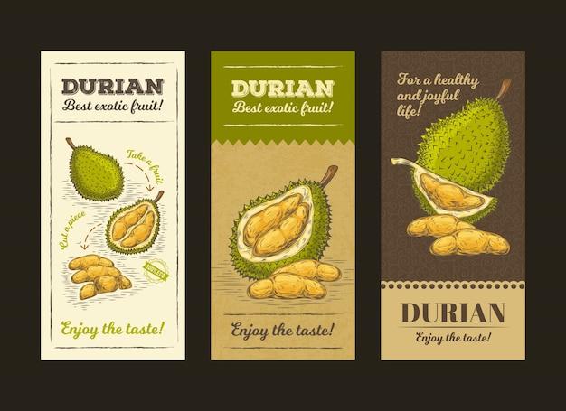 Illustration vectorielle dans l'emballage de conception pour les fruits durian, modèle, moc up Vecteur gratuit