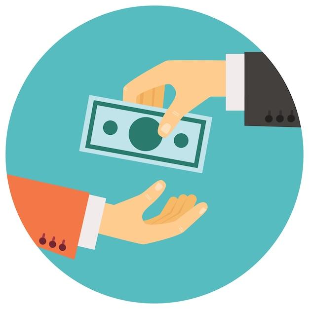 Illustration Vectorielle Dans Un Style Rétro, Main Donnant De L'argent à L'autre Main Vecteur gratuit