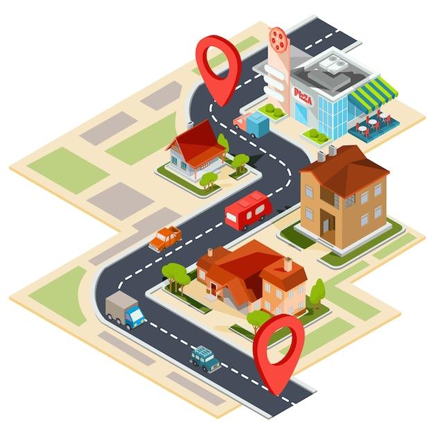 Illustration vectorielle de la carte de navigation avec icônes gps Vecteur gratuit