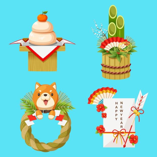 Illustration vectorielle de décorations du nouvel an japonais Vecteur Premium