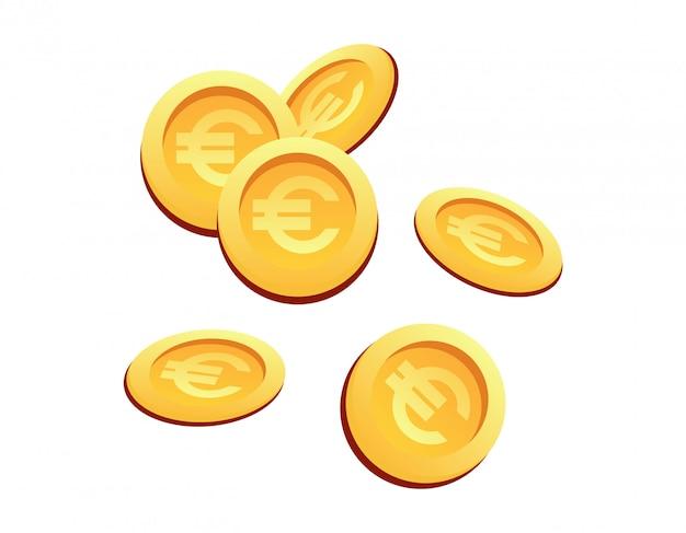 Illustration vectorielle définie de nombreuses pièces d'or signe euro Vecteur Premium