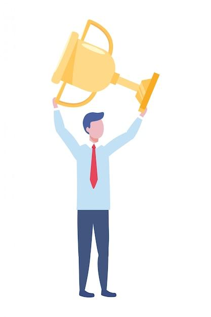 Illustration vectorielle de dessin animé avatar homme d'affaires Vecteur Premium