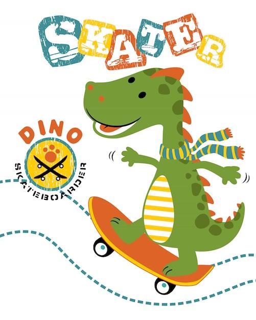 Illustration vectorielle de dessin animé dino le skateur Vecteur Premium