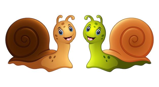 Illustration vectorielle de dessin animé d'escargots en deux couleurs | Télécharger des Vecteurs ...