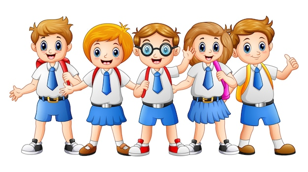 Illustration vectorielle de dessin animé happy school kids Vecteur Premium