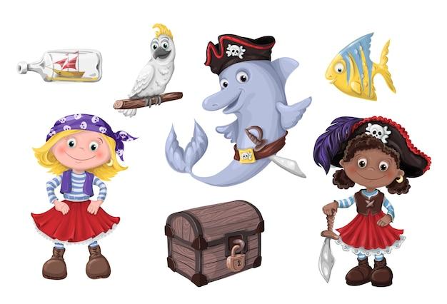 Illustration vectorielle de dessin animé mignon fille pirate enfants pirates. Vecteur Premium