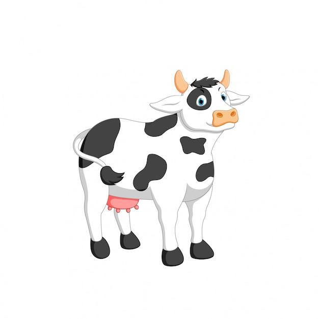 Illustration vectorielle de dessin animé de vache Vecteur Premium