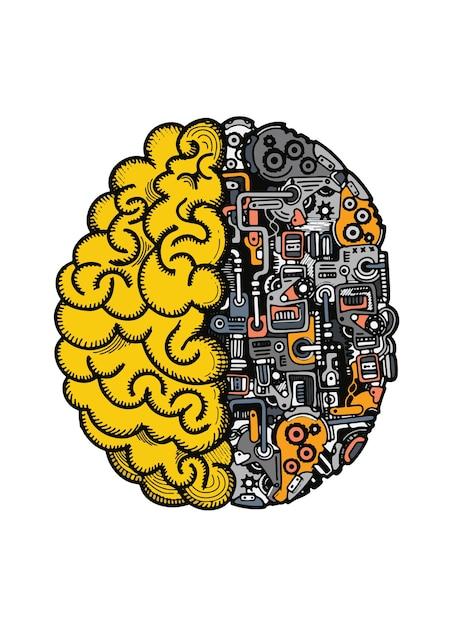 Illustration vectorielle dessinés à la main du cerveau de la machine humaine Vecteur Premium