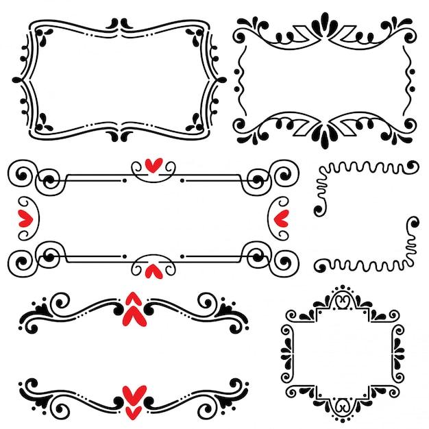Illustration Vectorielle Dessinés à La Main Ligne Frontière Mariage Art Dessiné à La Main Vecteur Premium
