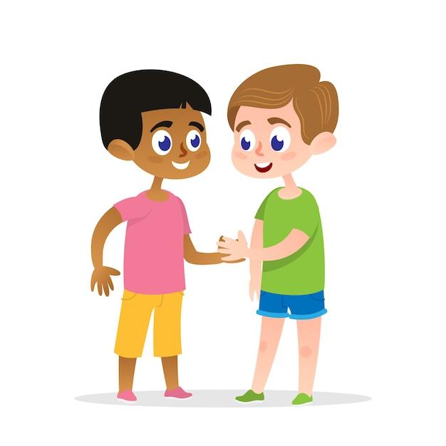 Illustration vectorielle de deux firends heureux handshake. Vecteur Premium