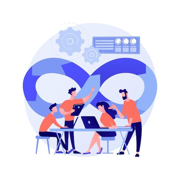 Illustration Vectorielle De Devops équipe Concept Abstrait. Membre De L'équipe De Développement Logiciel, Flux De Travail Agile, Modèle D'équipe Devops, Travail D'équipe Informatique, Gestion De Projet, Métaphore Abstraite Intégrée De La Pratique. Vecteur gratuit