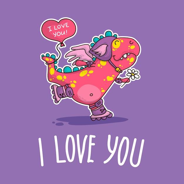 Illustration vectorielle sur dinozaur amoureux Vecteur Premium