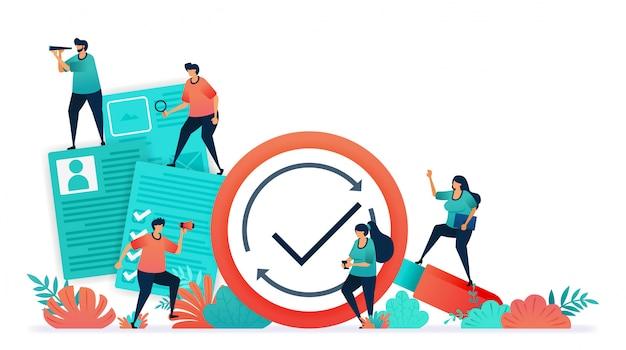 Illustration vectorielle de documents de recrutement des employés, enquêtes, tests, questionnaires. Vecteur Premium