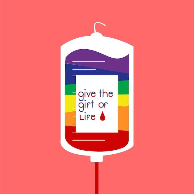 Illustration vectorielle de don de sang sac Vecteur gratuit
