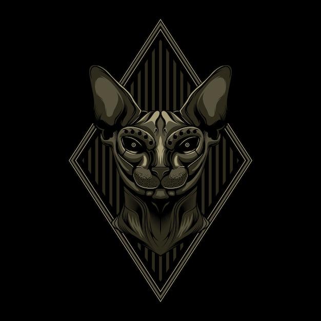 Illustration vectorielle donskoy cat Vecteur Premium