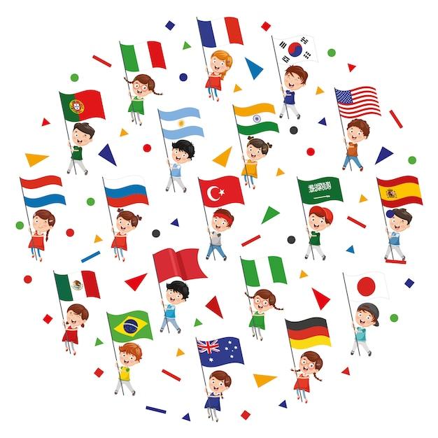 Illustration vectorielle du concept de drapeaux Vecteur Premium
