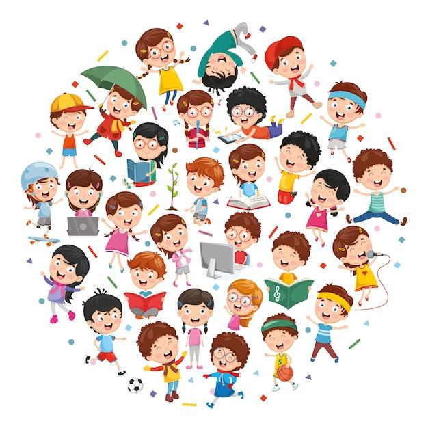 Illustration vectorielle du concept d'enfants de dessin animé Vecteur Premium