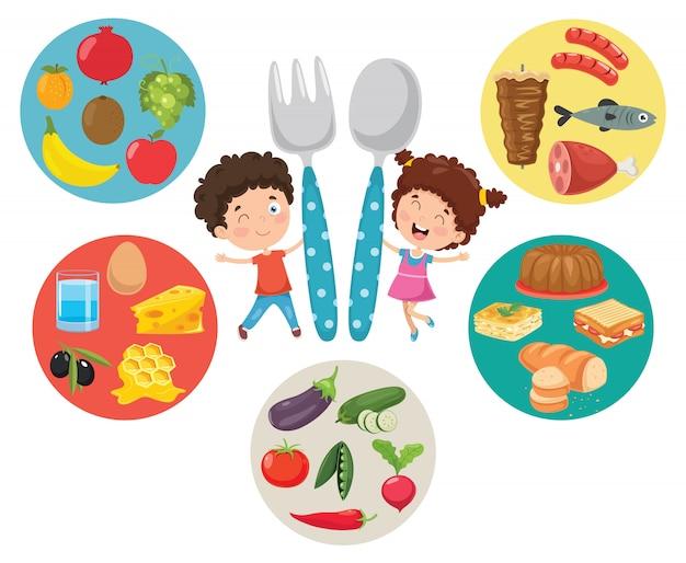 Illustration vectorielle du concept de nourriture pour enfants Vecteur Premium