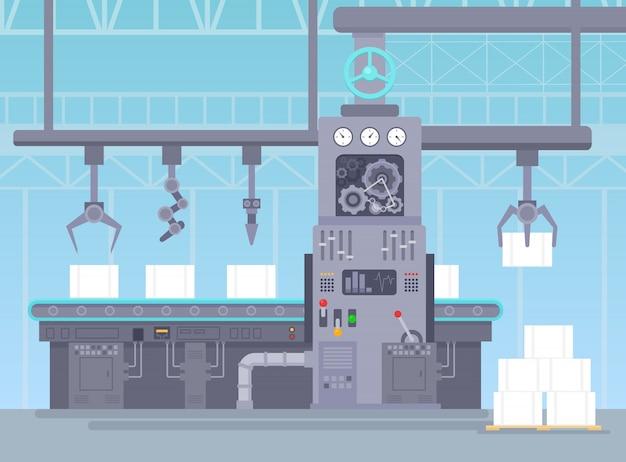Illustration Vectorielle Du Convoyeur Dans L'entrepôt De Fabrication. Concept Industriel D'usine. Production De Convoyeurs Et Emballage De Colis Sur Ligne De Bande En Style Cartoon Plat. Vecteur Premium
