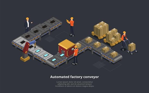 Illustration Vectorielle Du Convoyeur D'usine Automatisé. Composition 3d Isométrique Vecteur Premium