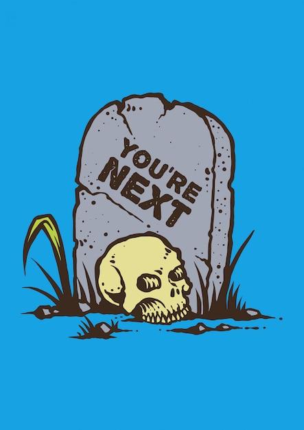 Illustration vectorielle du crâne dans le cimetière dans un style graphique rétro Vecteur Premium