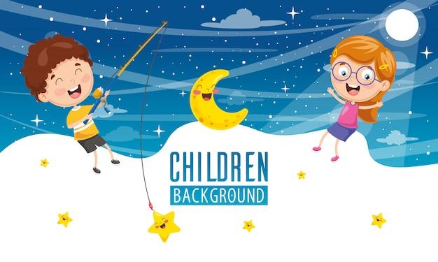 Illustration vectorielle du fond des enfants Vecteur Premium