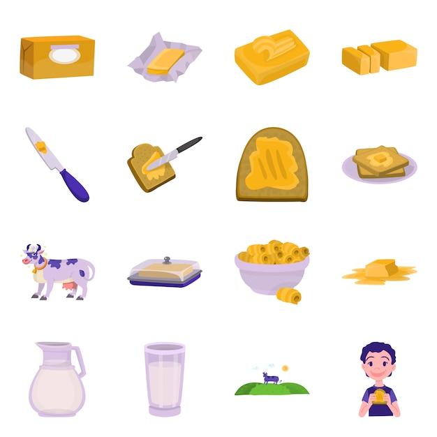 Illustration Vectorielle Du Logo Alimentaire Et Laitier. Ensemble De Nourriture Et De Cholestérol Vecteur Premium