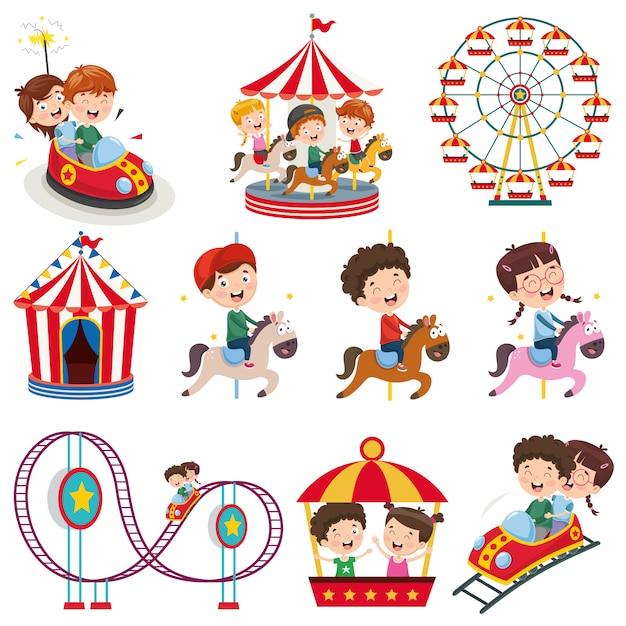 Illustration vectorielle du parc d'attractions Vecteur Premium