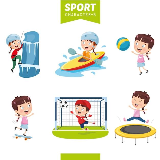 Illustration Vectorielle Du Personnage De Sport Vecteur Premium
