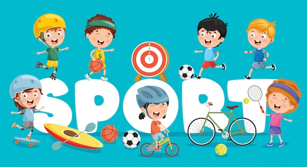 Illustration vectorielle du sport des enfants Vecteur Premium