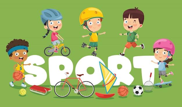 Illustration vectorielle du sport des enfants Vecteur Premium
