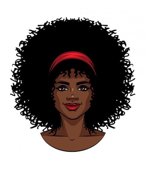 Illustration Vectorielle Du Visage De Femme De Type Afro-américain Aux Cheveux Bouclés. Portrait De Belle Fille Avec Sourire Vecteur Premium
