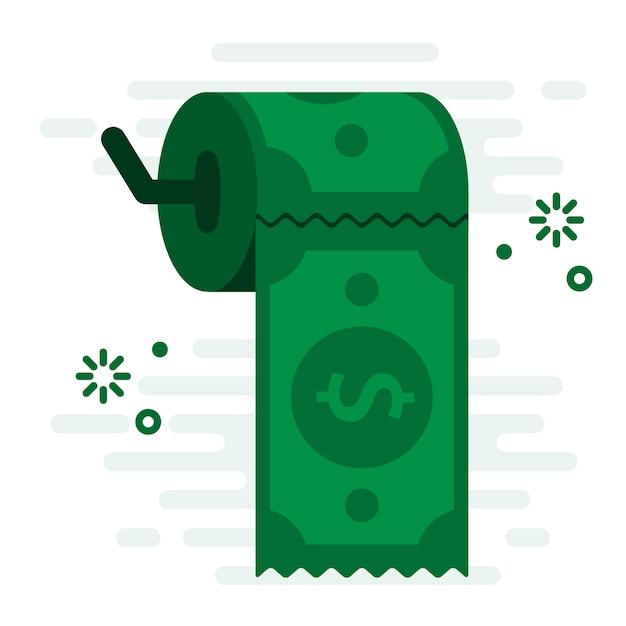 Illustration vectorielle de easy money support papier toilette financière concept Vecteur Premium