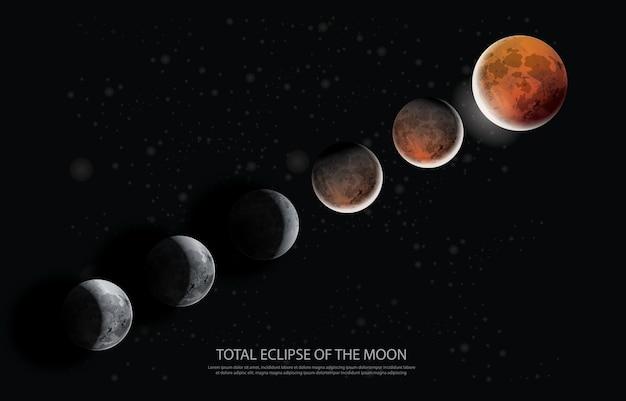 Illustration vectorielle de l'éclipse totale de la lune Vecteur Premium