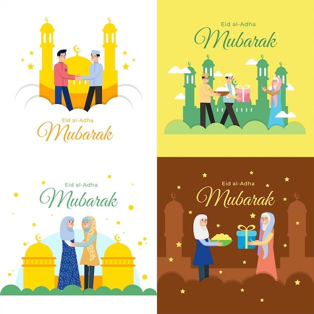 Illustration vectorielle eid al adha mubarak Vecteur Premium