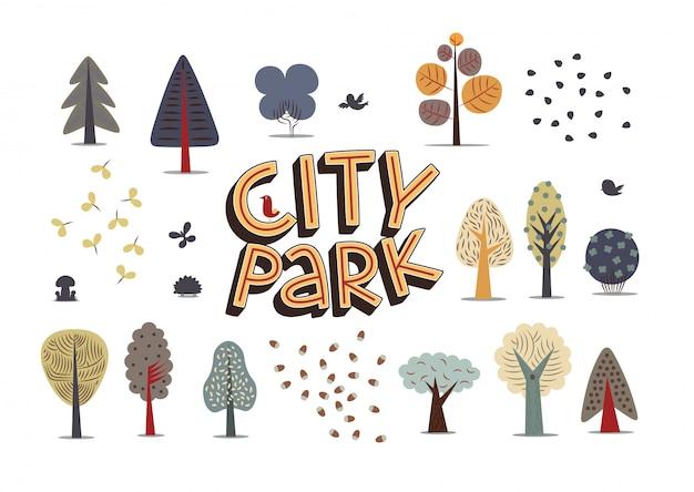 L'illustration vectorielle des éléments du parc de la ville Vecteur Premium