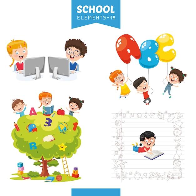 Illustration vectorielle des éléments de l'éducation Vecteur Premium