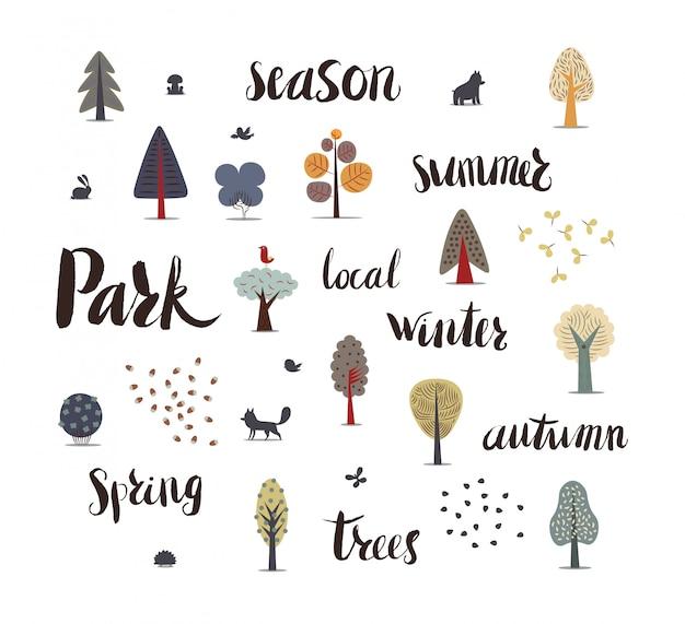 L'illustration vectorielle des éléments de la forêt plate Vecteur Premium