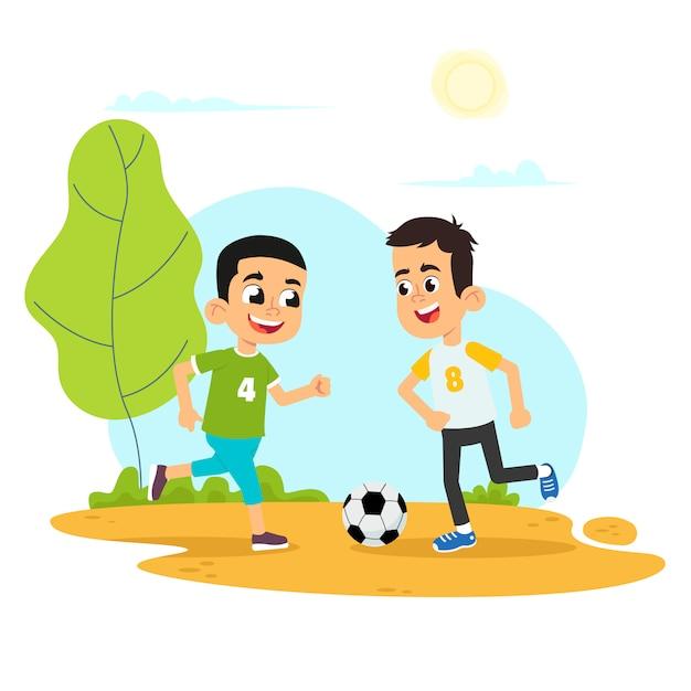 Illustration Vectorielle D'enfant Jouant Au Football Dans L'aire De Jeux Vecteur Premium