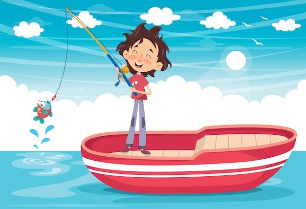 Illustration vectorielle d'un enfant de pêche Vecteur Premium