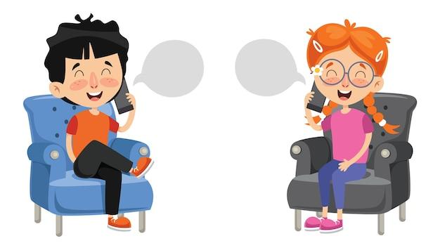 Illustration vectorielle de l'enfant qui parle au téléphone Vecteur Premium