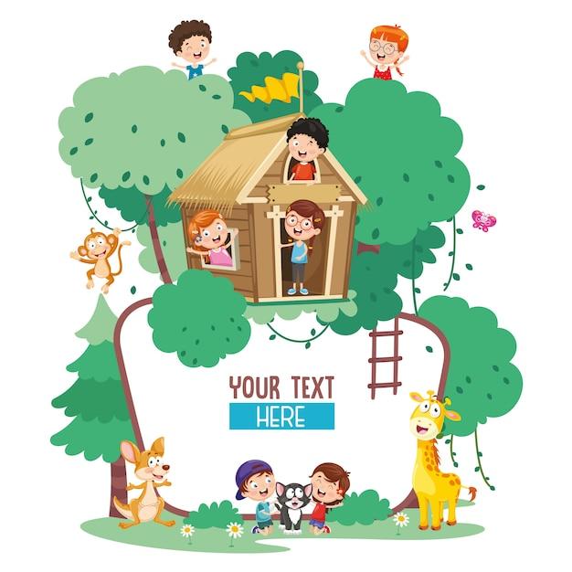 Illustration vectorielle d'enfants et d'animaux Vecteur Premium