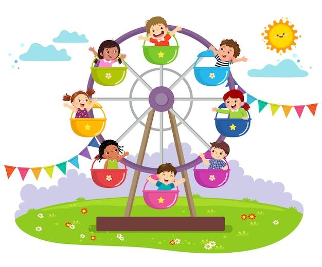 Illustration Vectorielle D'enfants à Cheval Sur La Grande Roue Dans Un Parc D'attractions. Vecteur Premium